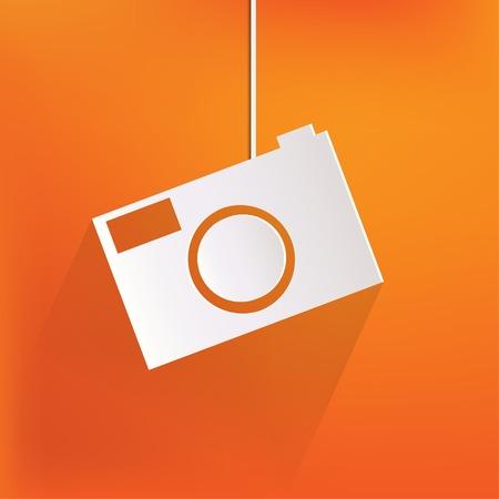 Photo camera web icon,flat design Stock Vector - 23008019