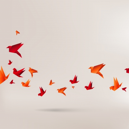 crane origami: Origami paper bird on abstract background