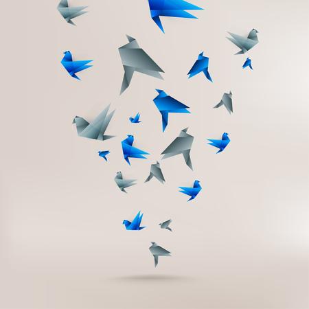 Origami papier vogel op abstracte achtergrond