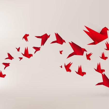 Origami Papier Vogel auf abstrakte Hintergrund Standard-Bild - 23009611