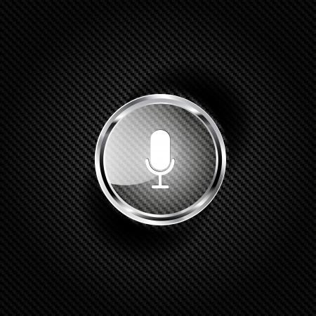 entertaining presentation: microphone web icon, flat design Illustration