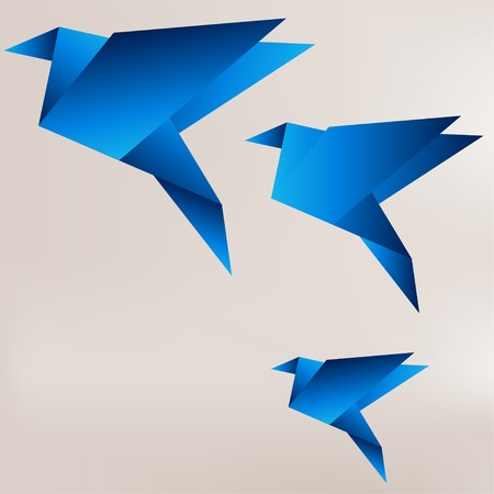 origami bird: Origami paper bird on abstract background
