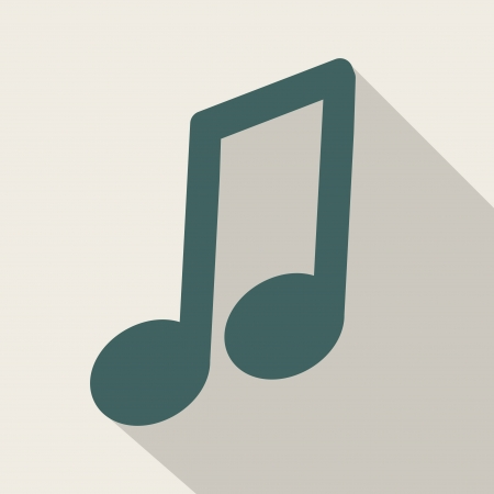 Music web icon,flat design Vector