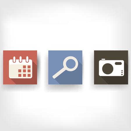 bottons: Abstract social media bottons, flat design Illustration