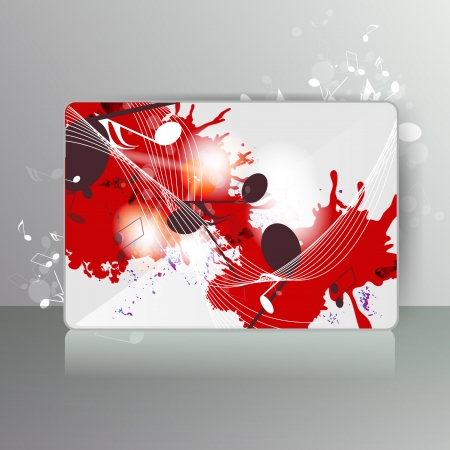 Card with abstract background with music notes Vector