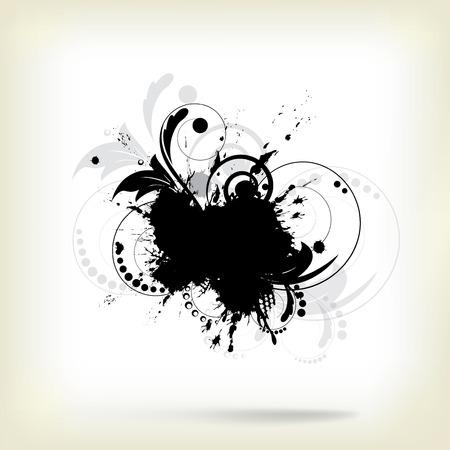 スプラッシュと花の要素と抽象的な背景