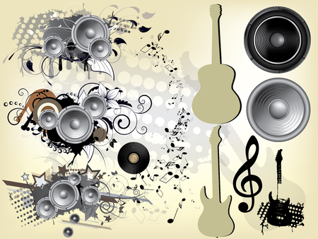abstract grunge music background with guitar Vector