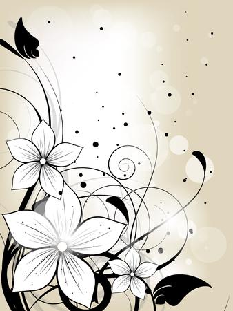 Bloemen lente achtergrond met bloemen en wervelingen Stock Illustratie