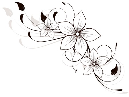Bloemen veerelement met krullen