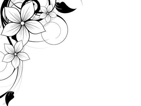 Floral spring element with swirls Illustration