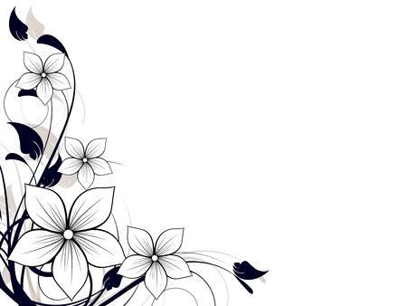 소용돌이와 꽃 스프링 요소 일러스트