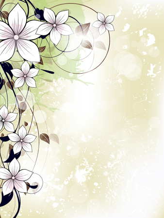 art deco border: Abstract floral spring background with flowers and swirls