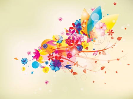 colorful floral composition with flowers and swirls Vector