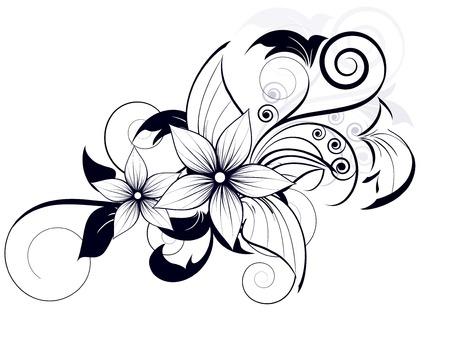 봄 소용돌이와 꽃 무늬 디자인 요소
