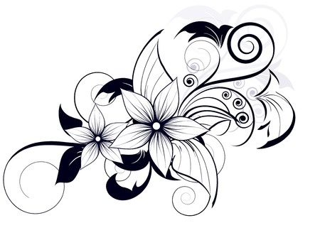 floral: floral design element with swirls for spring