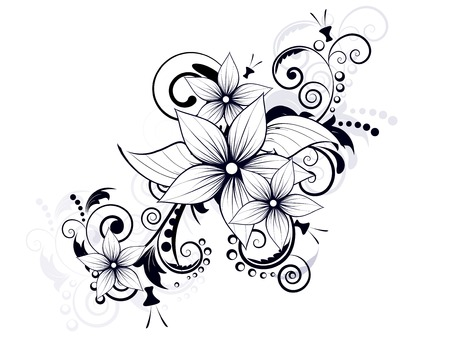 element for design: floral design element with swirls for spring