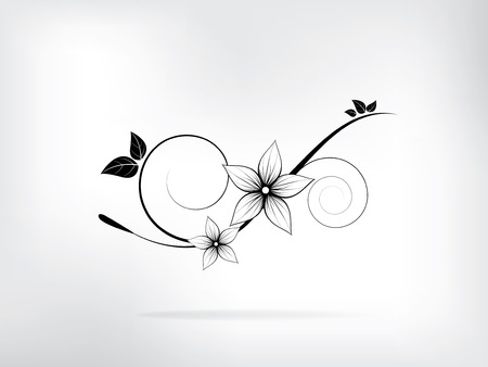 Floral spring elements with swirls and flowers