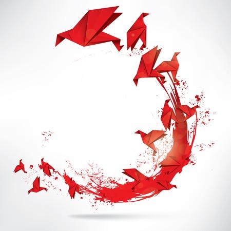 Origami Papier Vogel auf abstrakten Hintergrund Standard-Bild - 23152049