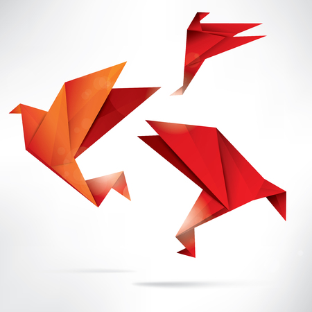 tending: Origami paper bird on abstract background