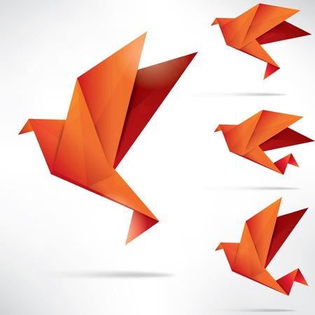 抽象的な背景に折り紙の紙の鳥  イラスト・ベクター素材