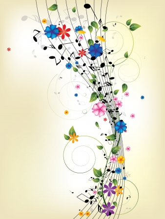 music festival: Floral musical background with notes