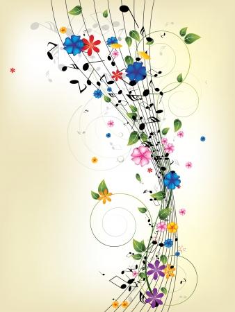 Floral musikalischen Hintergrund mit Noten Standard-Bild - 23152409