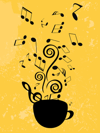Abstract music background with notes and coffee cup Vector