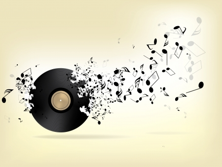 play music: Abstract music background with notes Illustration