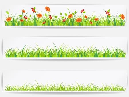ベクトル緑の草と背景を設定します。  イラスト・ベクター素材