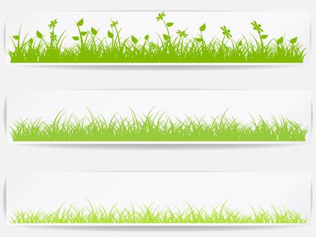 jardines flores: Conjunto de fondos de vector con la hierba verde Vectores