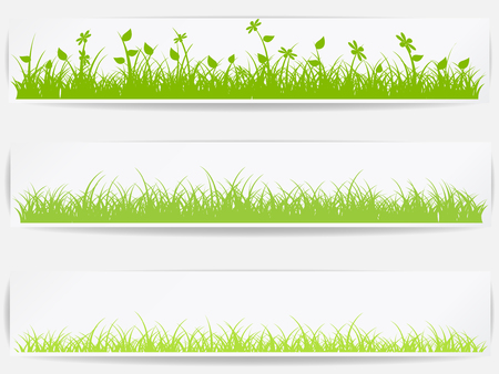 grassland: Set of  backgrounds with vector green grass