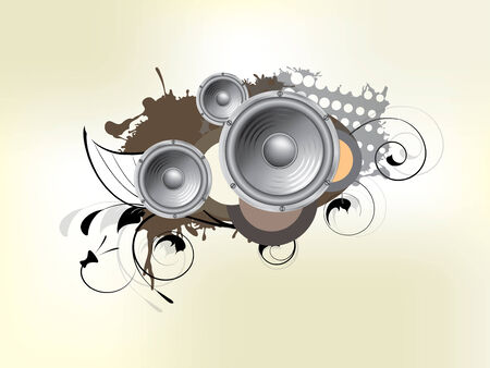 Abstract bckground with subwoofer and floral elements Illustration