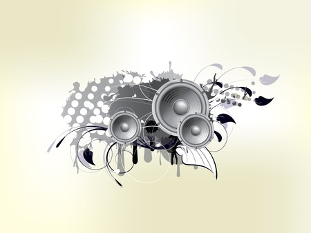 high volume: Abstract bckground with subwoofer and floral elements Illustration