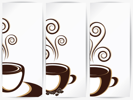 Cup of coffee or tea with floral design elements Illustration