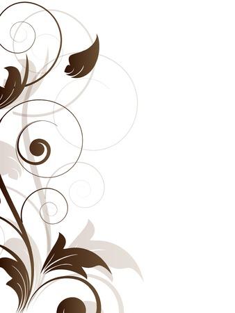 Siergrens met bloemen elementen en wervelingen