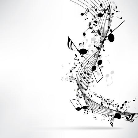 ノートと抽象的な音楽的な背景  イラスト・ベクター素材