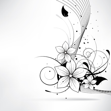 corner design: Abstract background with floral elements