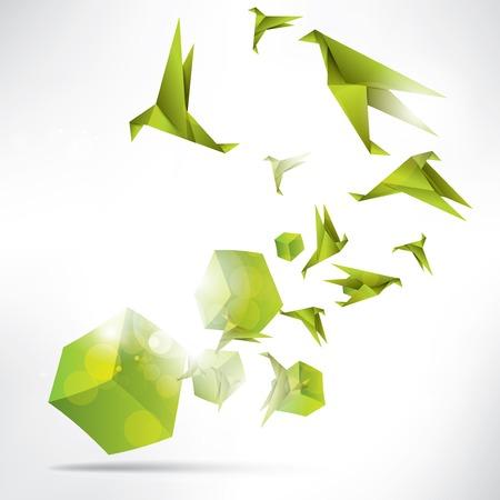 Origami oiseau de papier sur le fond abstrait Banque d'images - 23226537
