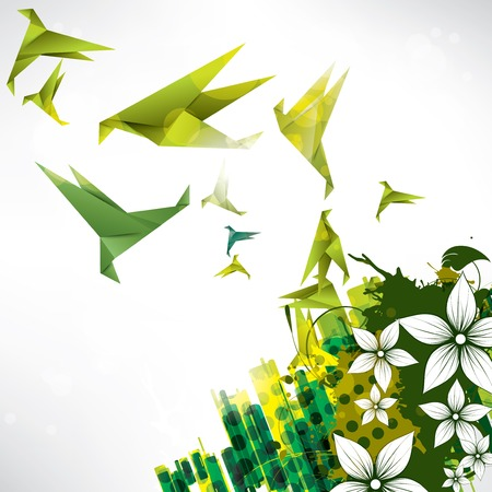 Origami paper bird on abstract background Stock fotó - 23226545