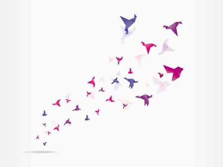 Origami japan paper flying bird