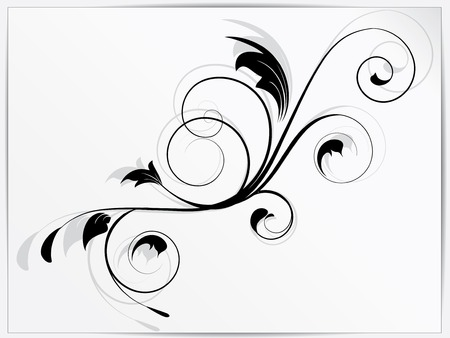 Ornamental floral element with swirls Vector