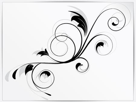 stencil flower: Ornamental floral element with swirls Illustration