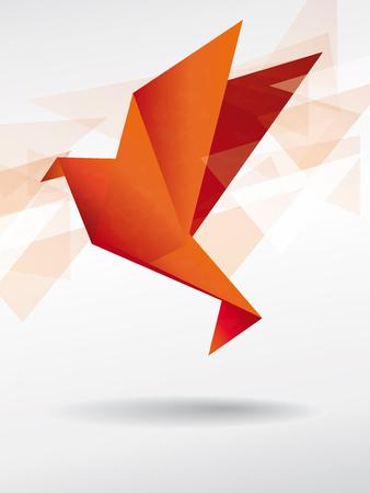 crane fly: Origami japan paper flying bird