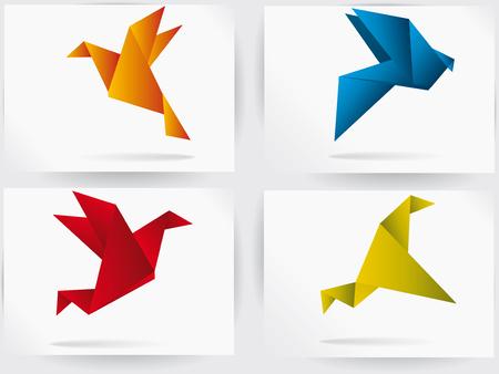 折り紙日本空飛ぶ鳥  イラスト・ベクター素材