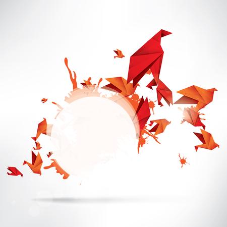 crane bird: Origami paper bird on abstract background