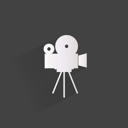 movie camera: Videocamera web icon, flat design
