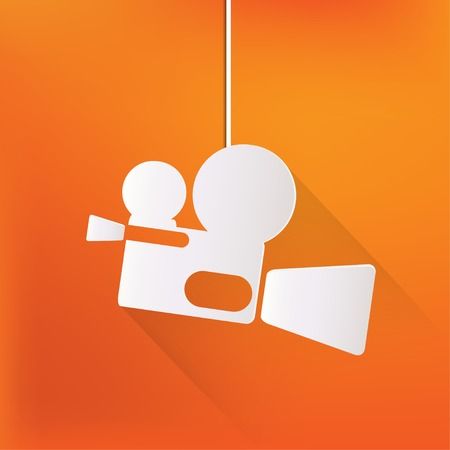 Videocamera web icon, flat design