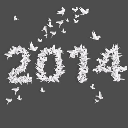 Number 2014 with origami birds Vector