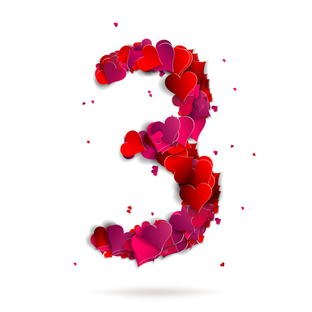 Number three, 3 made from red hearts Love alphabet Vector