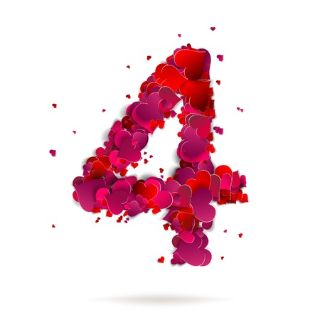 Number four, 4 made from red hearts Love alphabet Vector